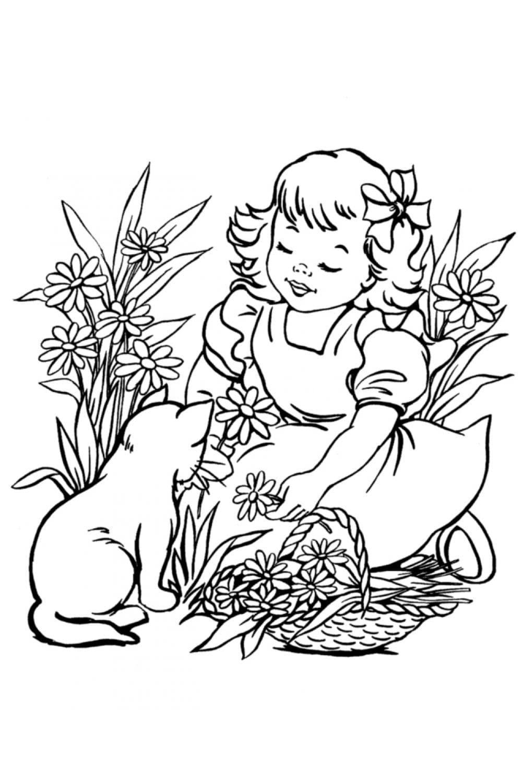 Раскраска Кот и девочка собирают ромашки