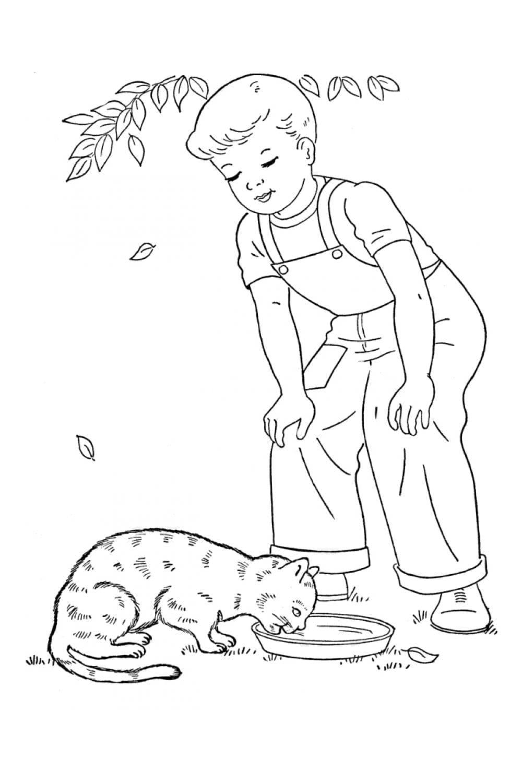 Раскраска Кот и мальчик