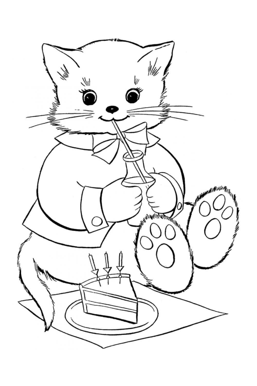 Раскраска Кот пьет молоко и есть торт