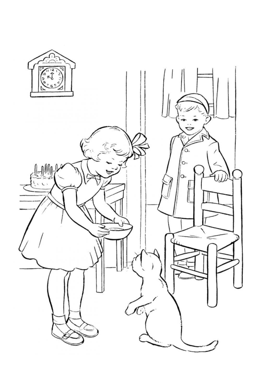 Раскраска Кот стоит на задних лапках