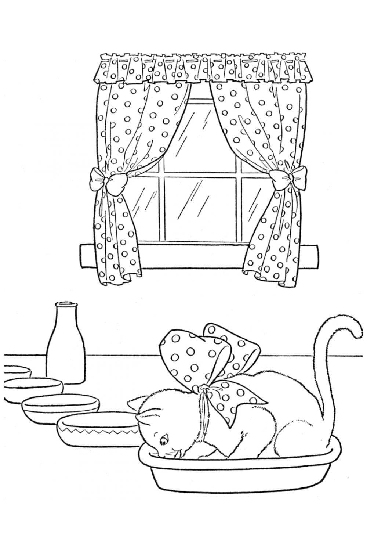 Раскраска Кот залез в миску