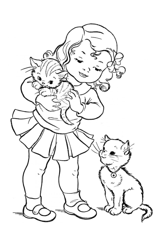 Раскраска Котенок на руках у девочки