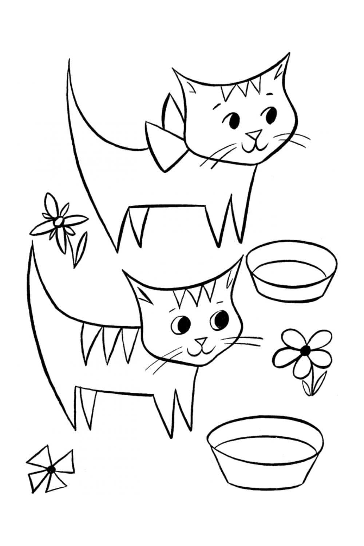 Раскраска Котята и цветы