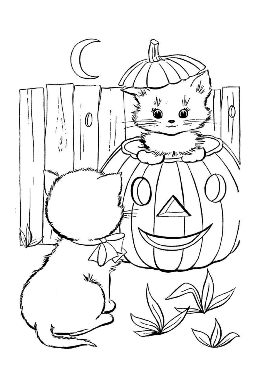 Раскраска Котята на тыкве