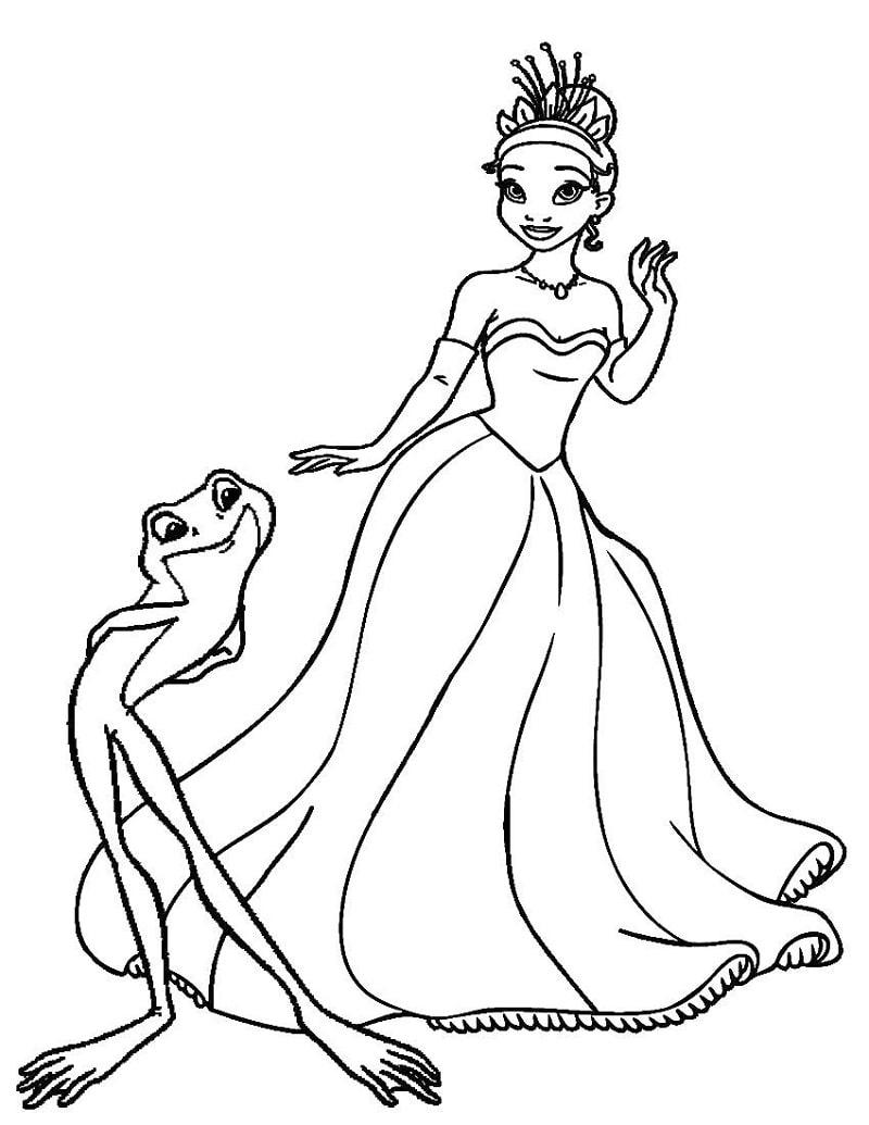Раскраска красивая принцесса тиана 2