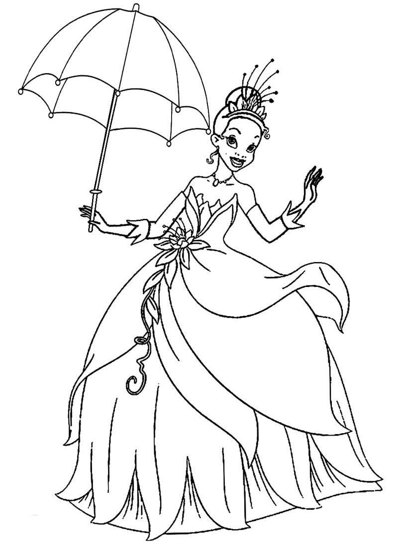 Раскраска красивая принцесса тиана 8