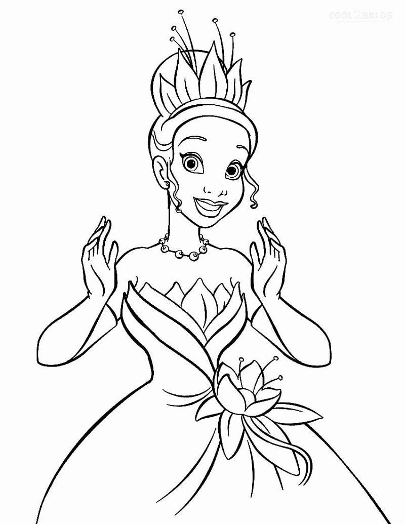 Раскраска красивая принцесса тиана