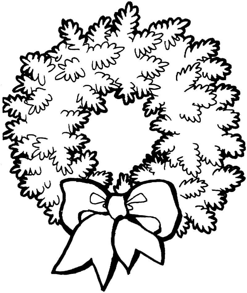 Раскраска Красивый рождественский венок