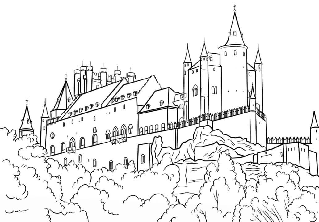 Раскраска Крепость Алькасар в Сеговии