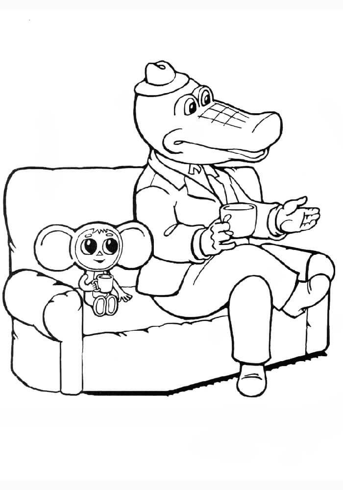 Раскраска Крокодил Гена 10
