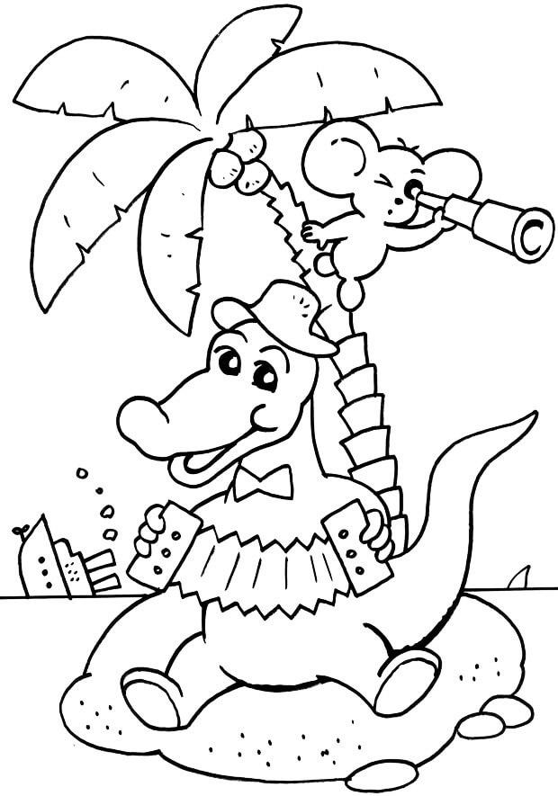 Раскраска Крокодил Гена 14