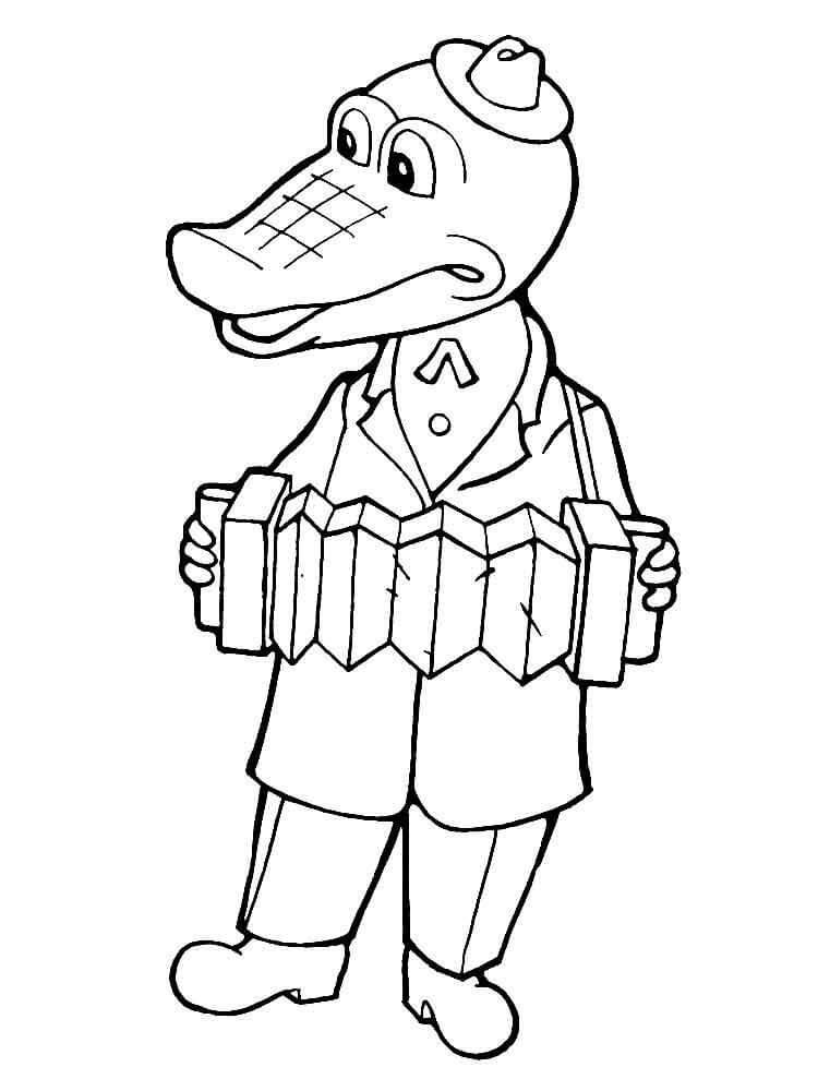 Раскраска Крокодил Гена 8