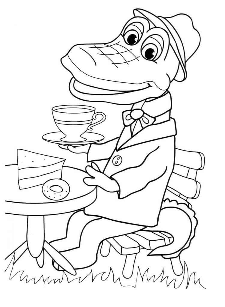 Раскраска Крокодил Гена 9