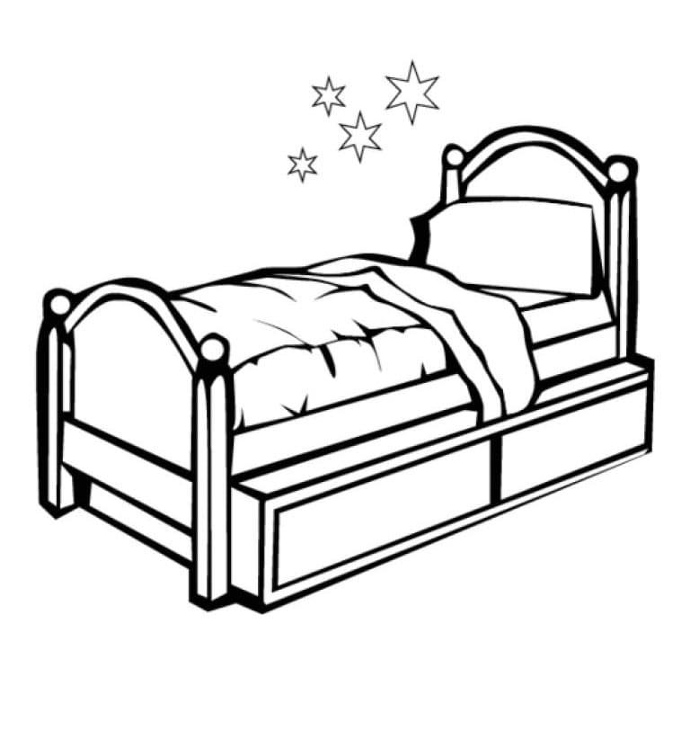 Раскраска Кровать
