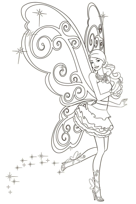 Раскраска Крылья Барби