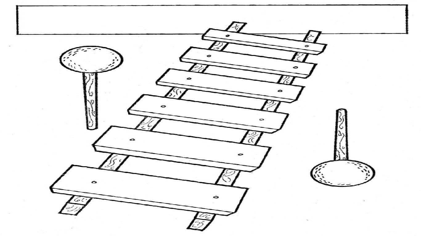 Раскраска ксилофон 4