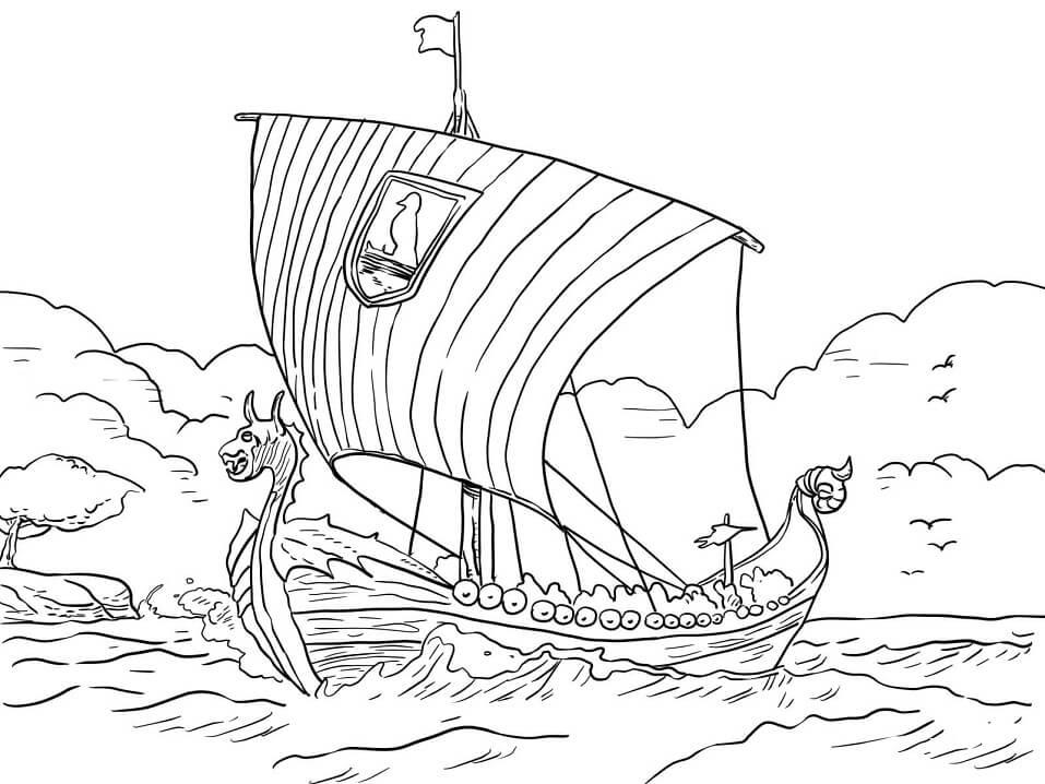 Раскраска Langskip, «длинный корабль» - корабль
