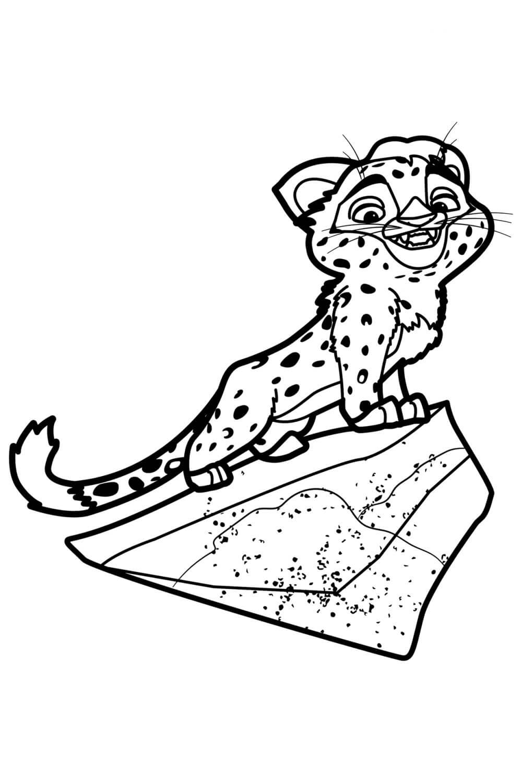 Раскраска Леопард Лео