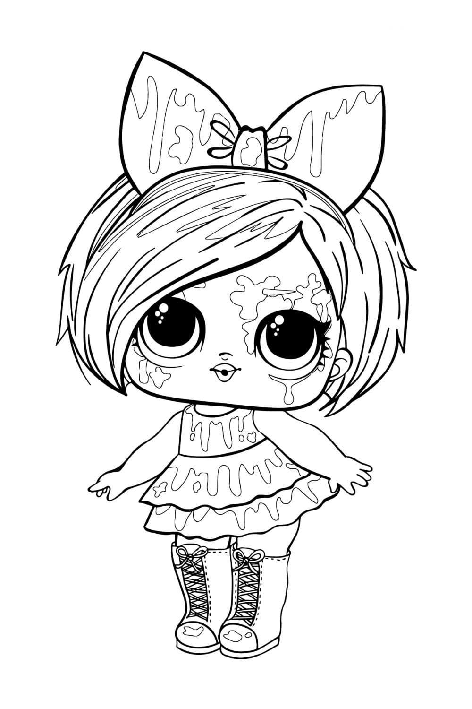 Раскраска ЛОЛ Брызги с волосами