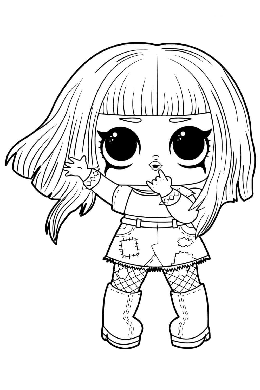 Раскраска ЛОЛ Крошка Металл с волосами
