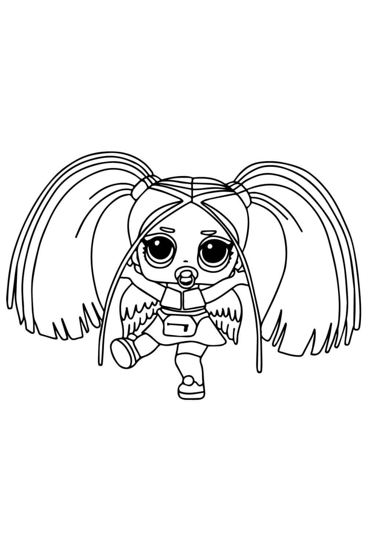 Раскраска ЛОЛ с волосами Радуга Рейвер
