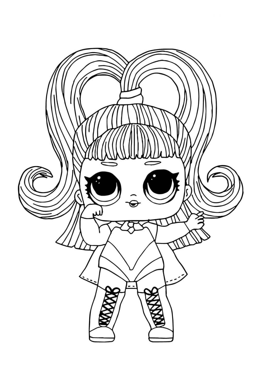 Раскраска ЛОЛ с волосами Светящаяся девочка