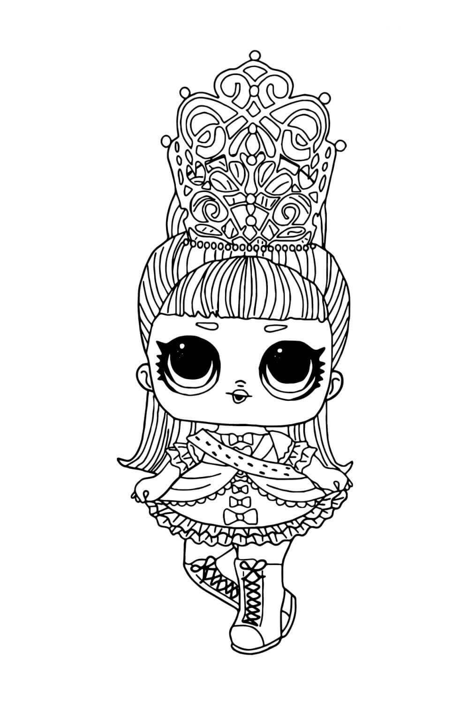 Раскраска ЛОЛ Ваше величество с волосами