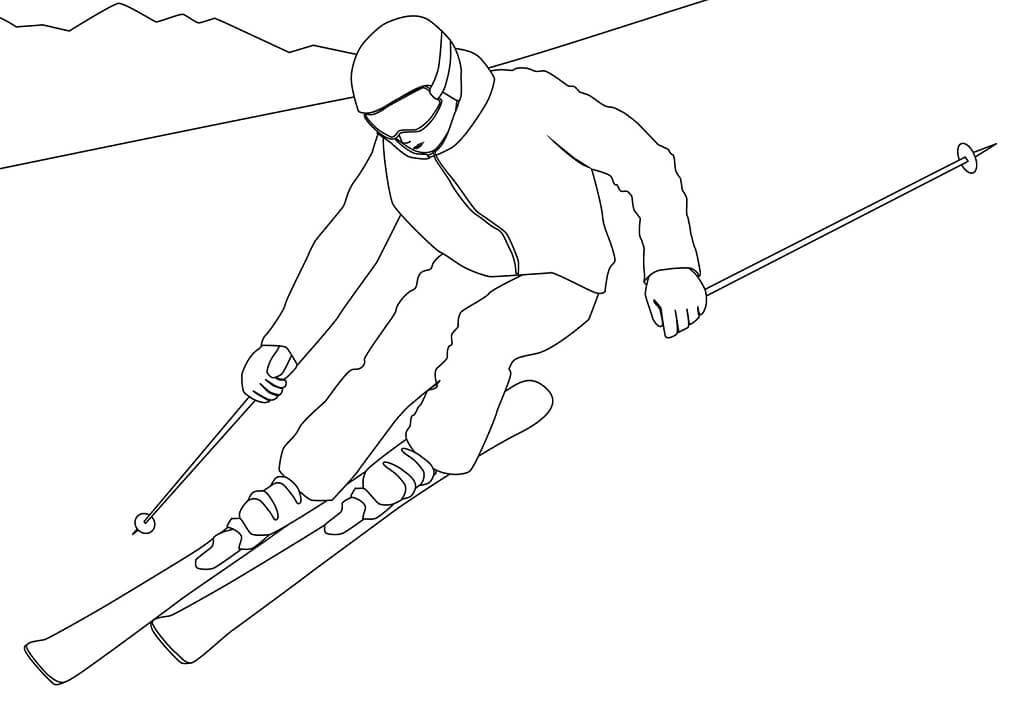 Раскраска лыжи 1