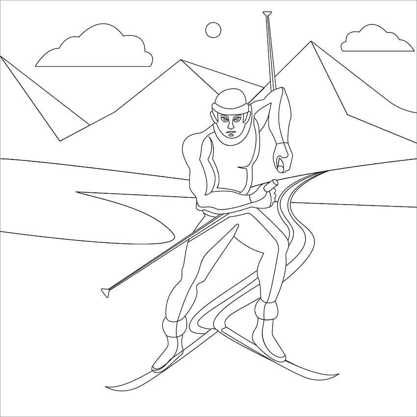 Раскраска лыжи 2