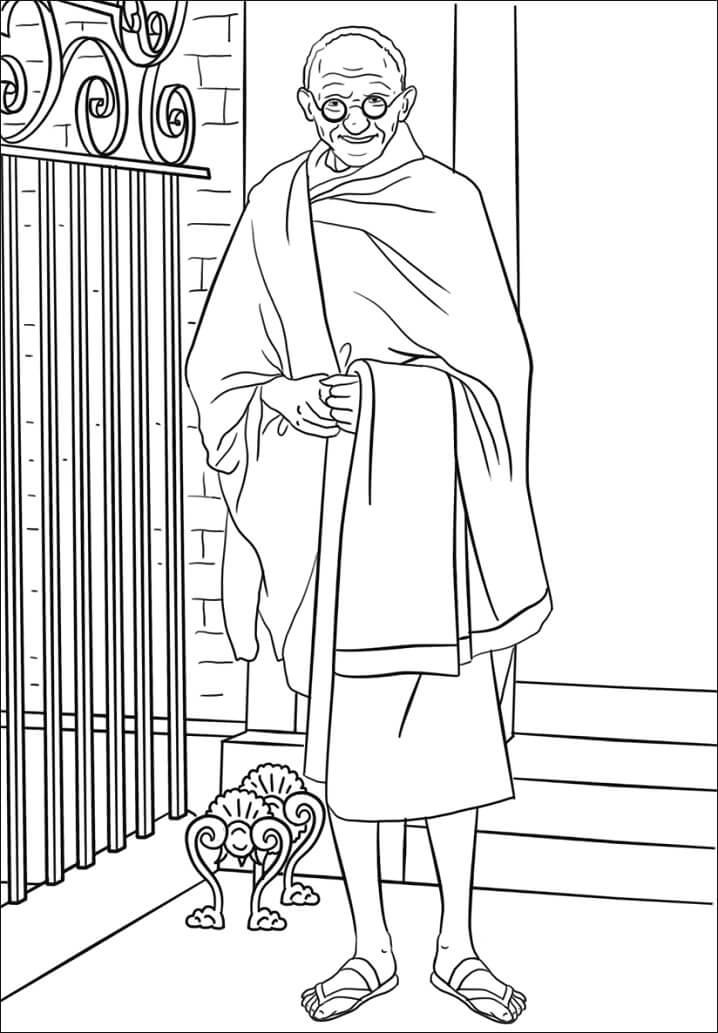 Раскраска Махатма Ганди 1