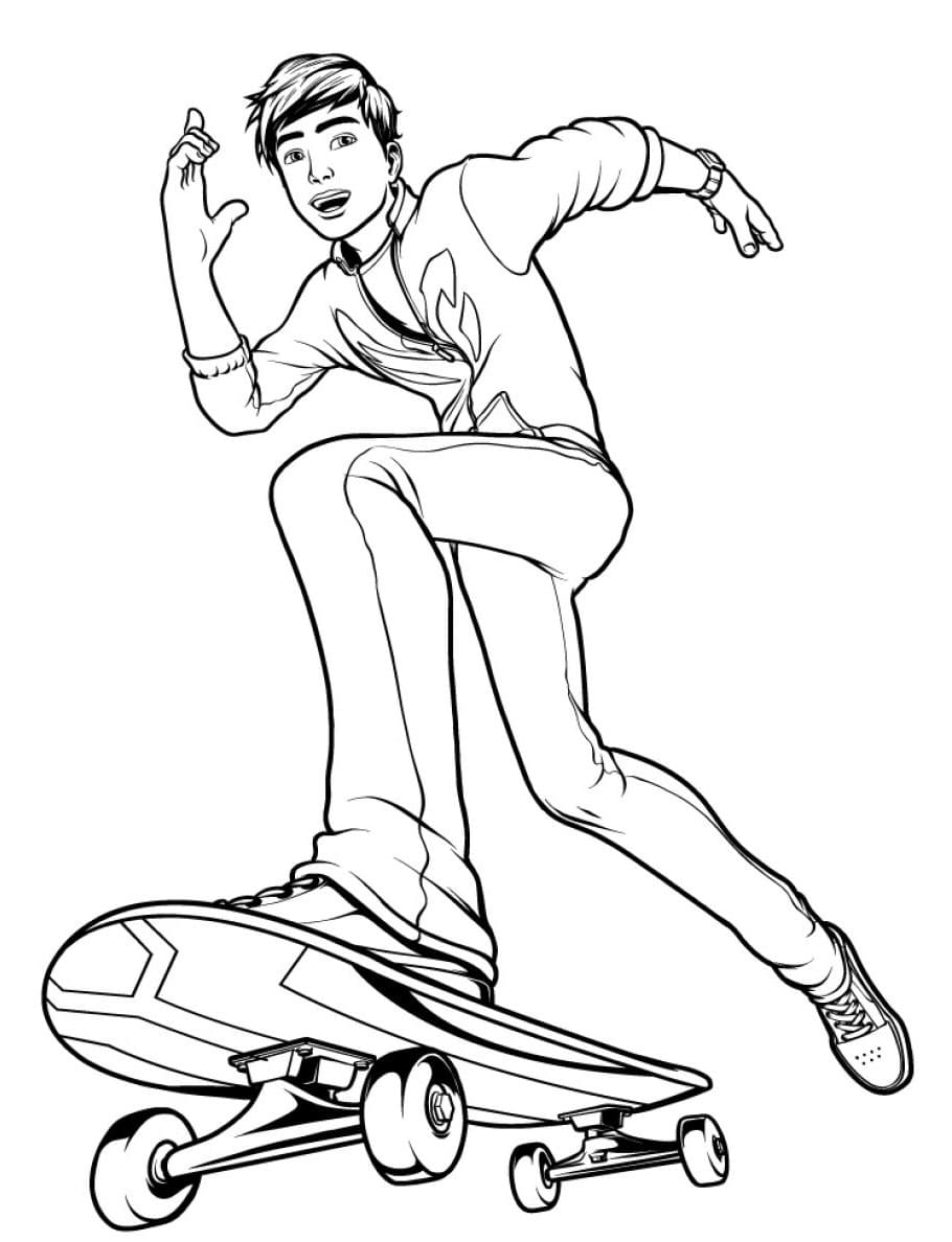 Раскраска Макс на скейте