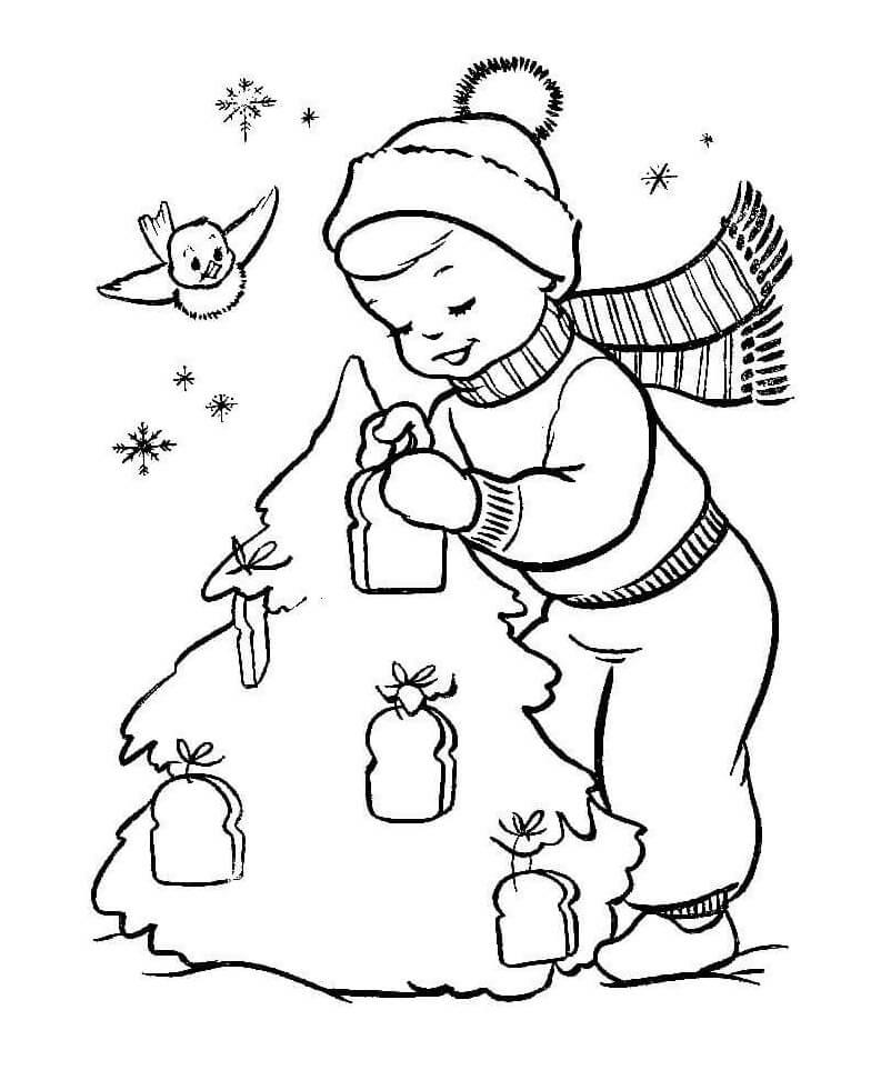 Раскраска Мальчик и елка