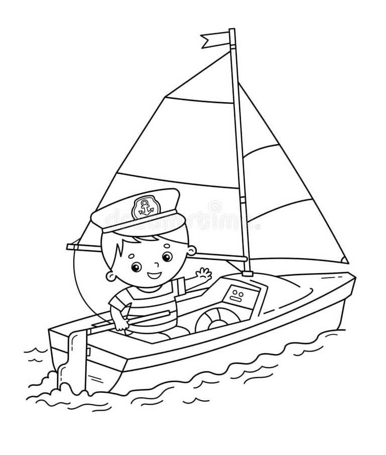 Раскраска мальчик на лодке