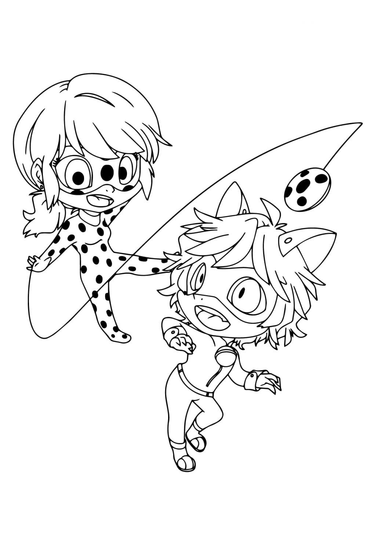 Раскраска Маленькие Леди Баг и Супер-Кот
