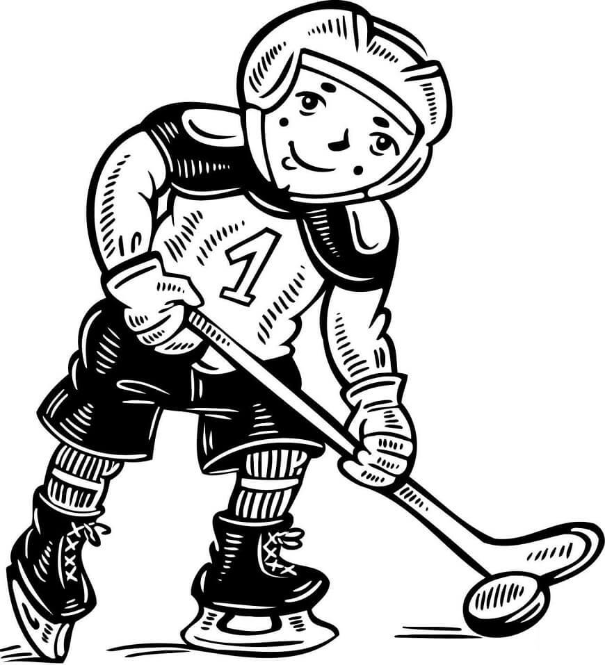 Раскраска Маленький хокеист