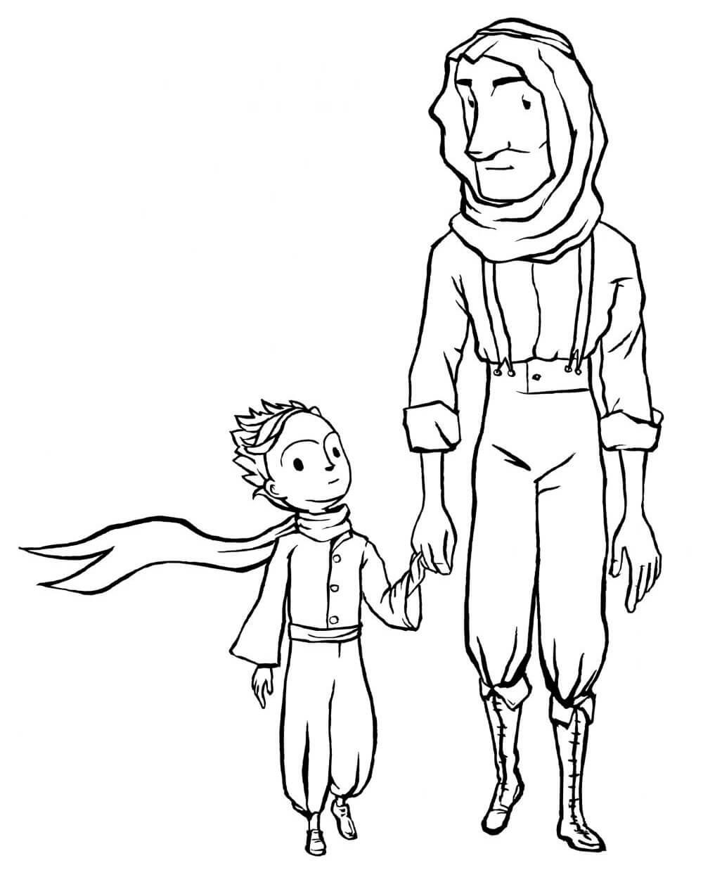Раскраска Маленький принц и летчик