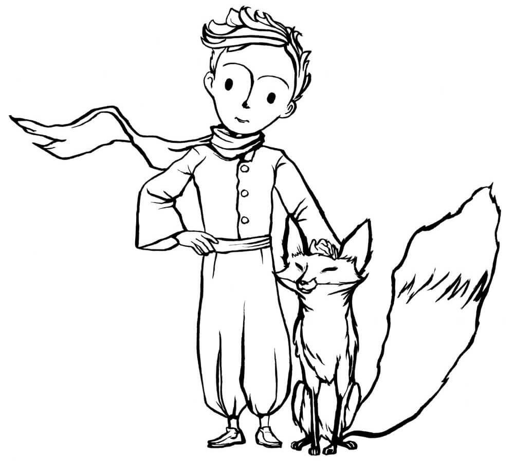 Раскраска Маленький принц и Лис