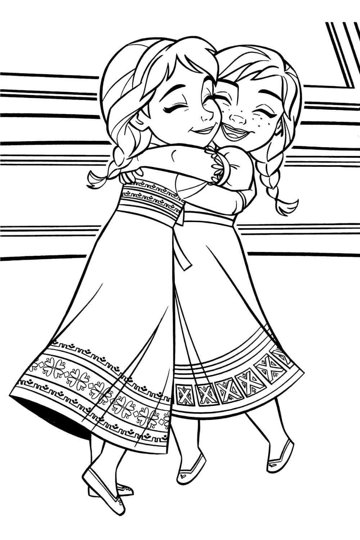 Раскраска Малышки Анна и Эльза
