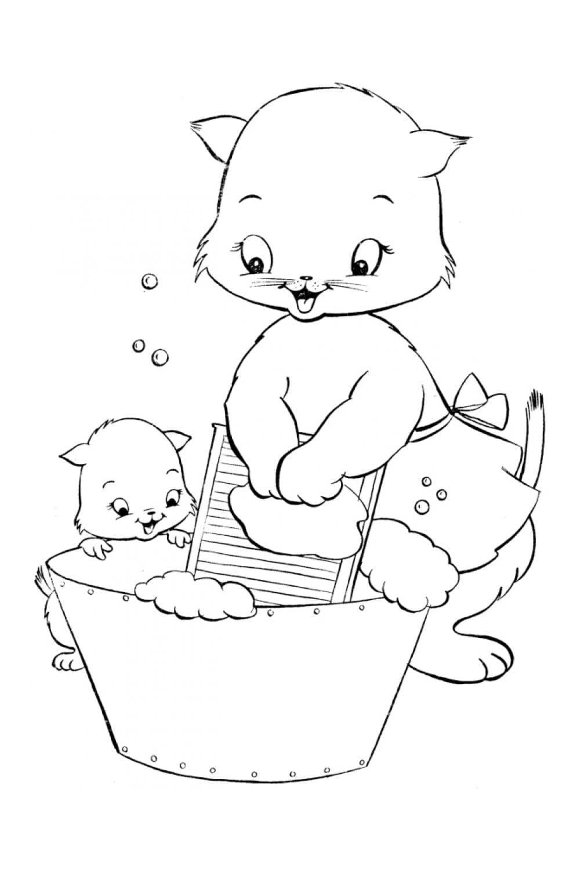 Раскраска Мама-кошка и дочка-котенок