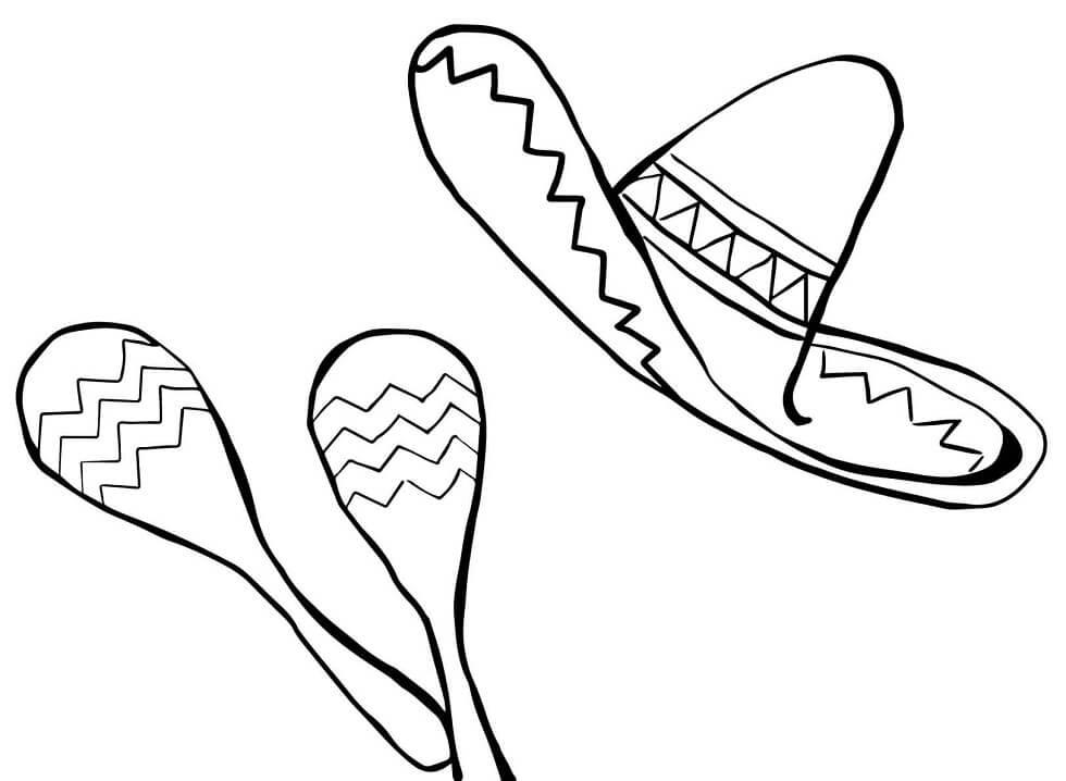 Раскраска маракасы и сомбреро 1