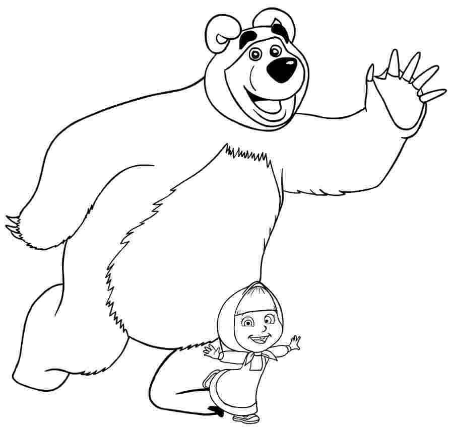 Раскраска Маша и Медведь 1