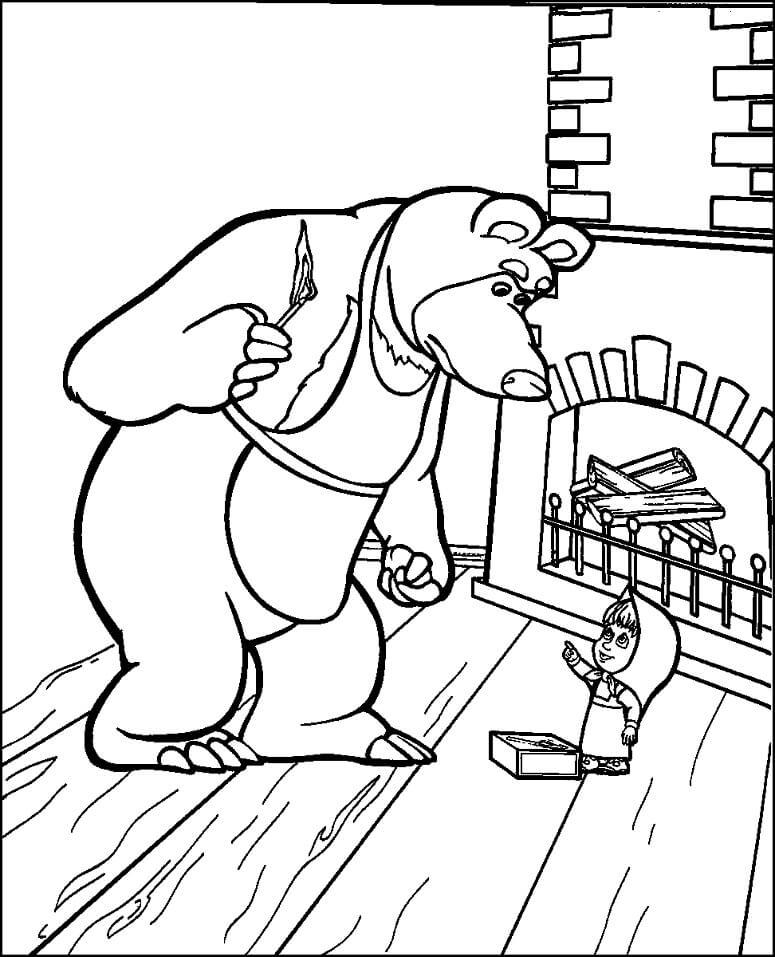 Раскраска Маша и Медведь 10