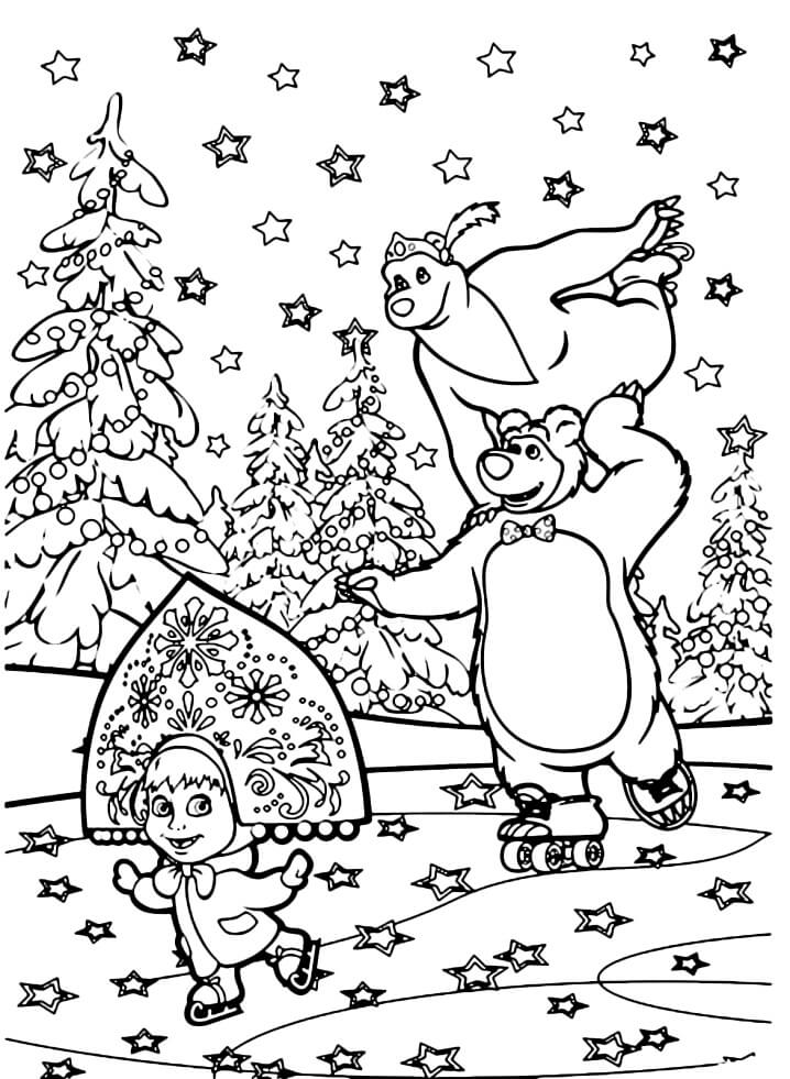 Раскраска Маша и Медведь 12