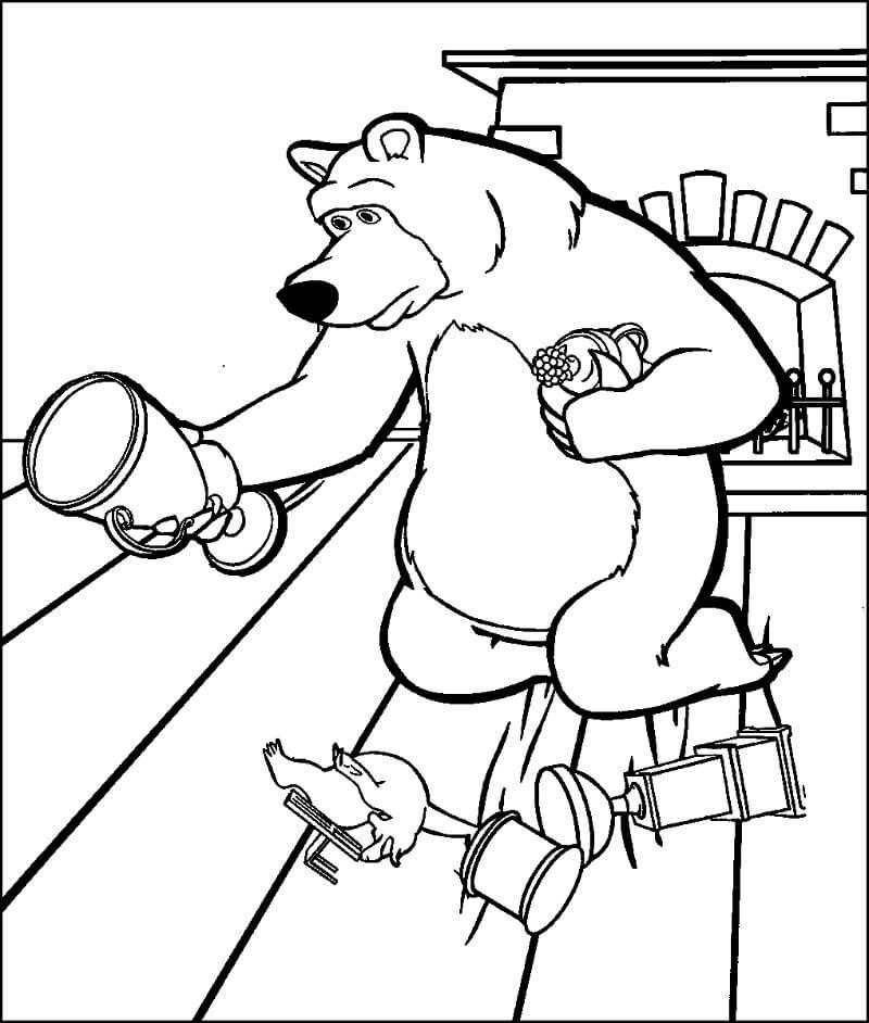 Раскраска Маша и Медведь 13