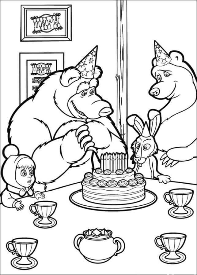 Раскраска Маша и Медведь 15