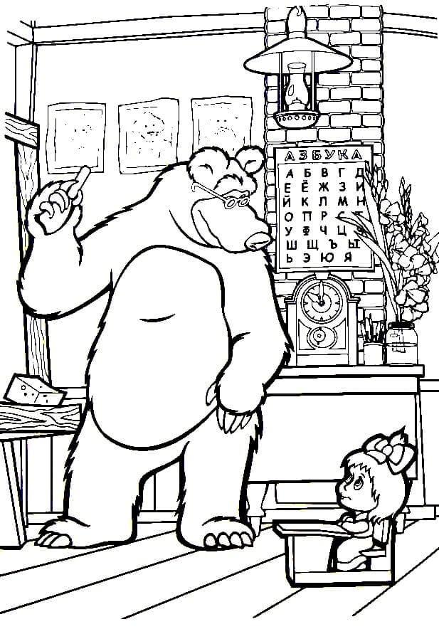 Раскраска Раскраски Маша и Медведь