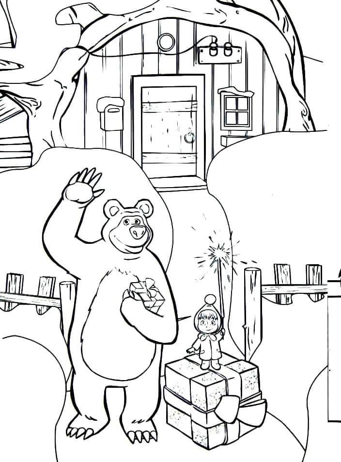 Раскраска Маша и Медведь 17