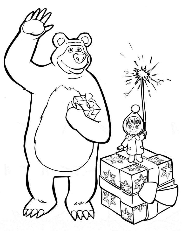 Раскраска Маша и Медведь 18