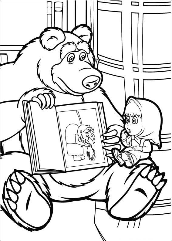 Раскраска Маша и Медведь 2