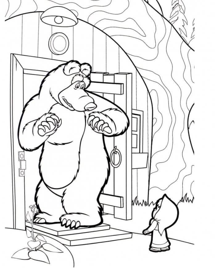 Раскраска Маша и Медведь 20
